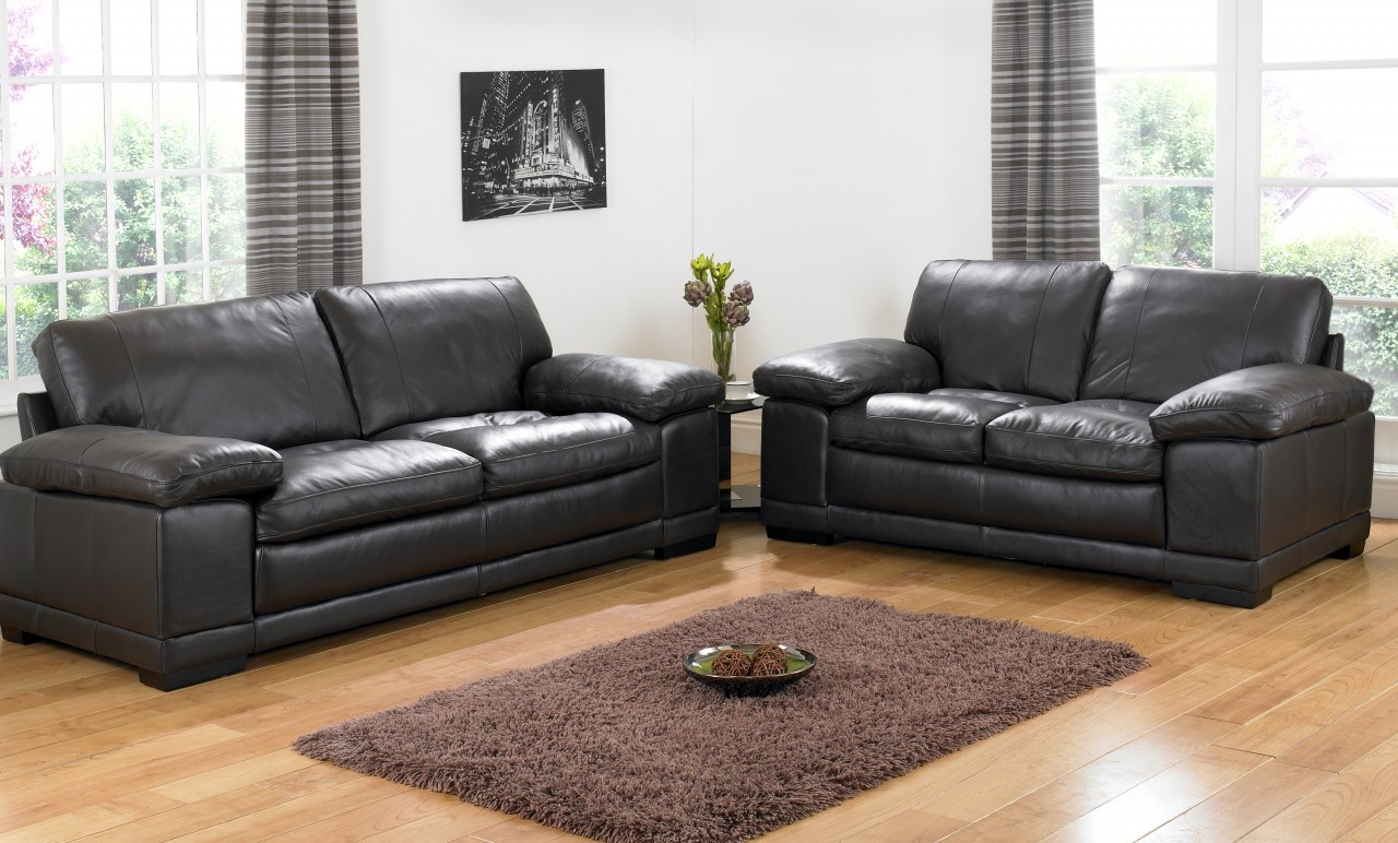 Seater Black Leather Sofas
