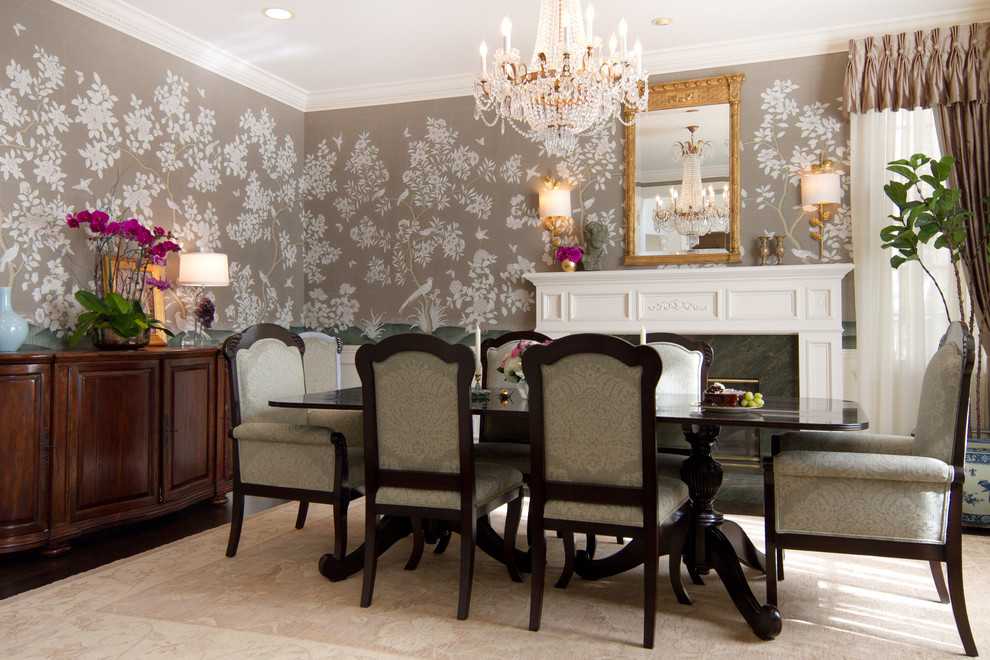 chinoiserie wallpaper dining room