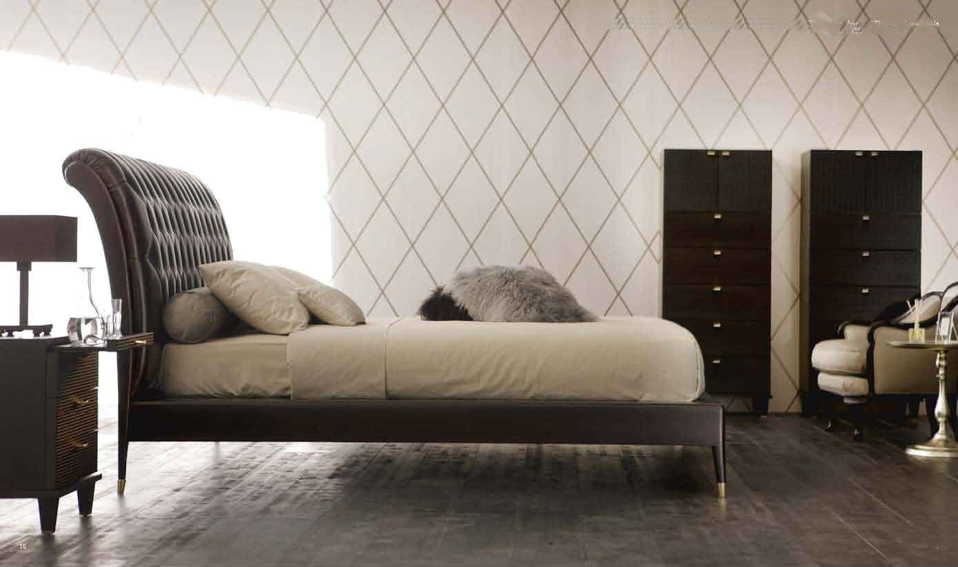 contemporary double bed with leather headboard