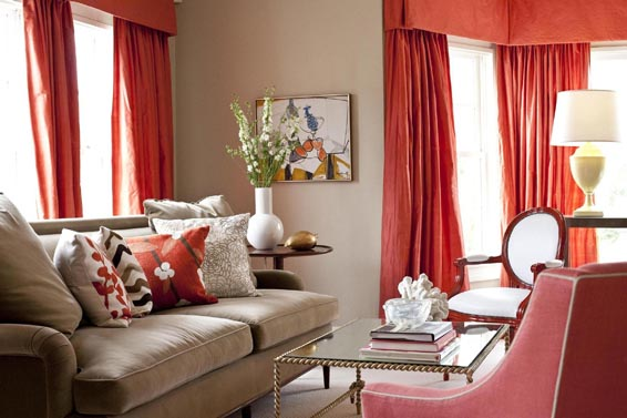 living room with red curtains