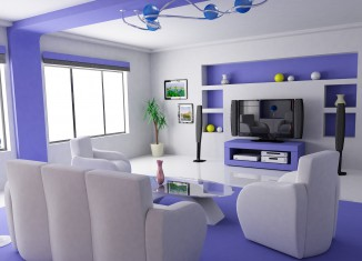 purple drwaing room interior idea