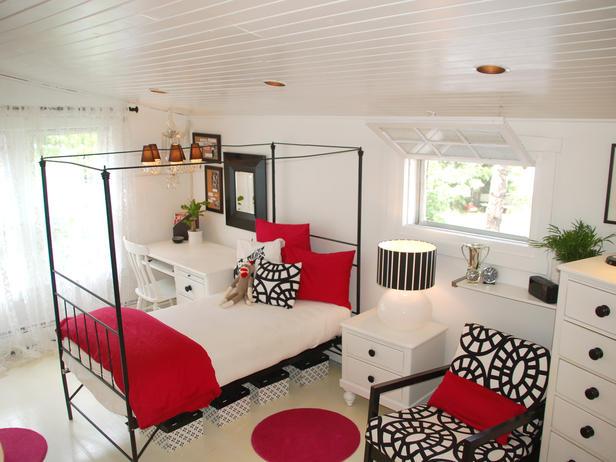 red black teen bedroom