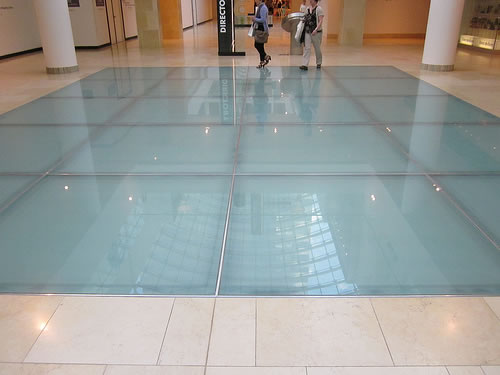 big square glass floor
