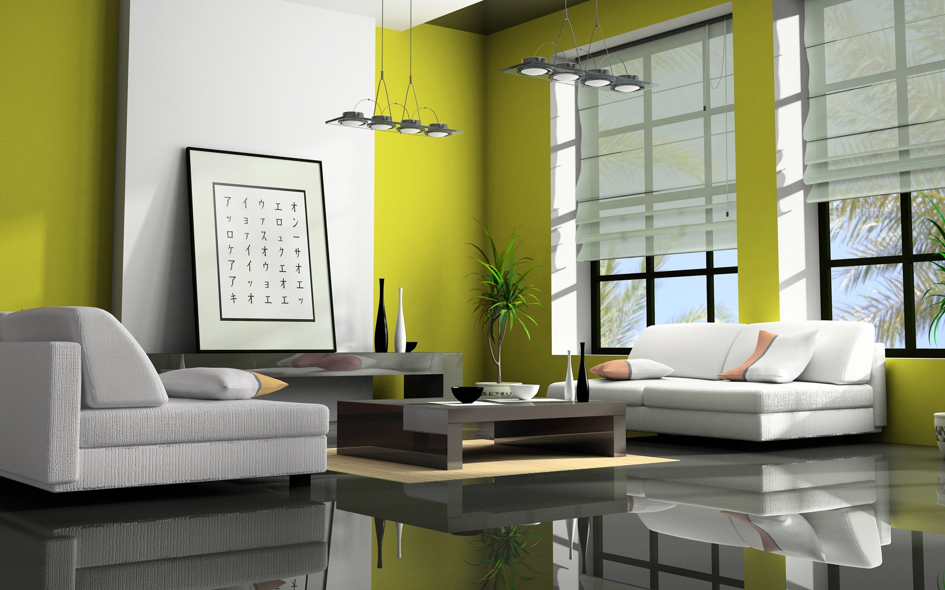 Light green color living room idea interior design ideas for Room design green