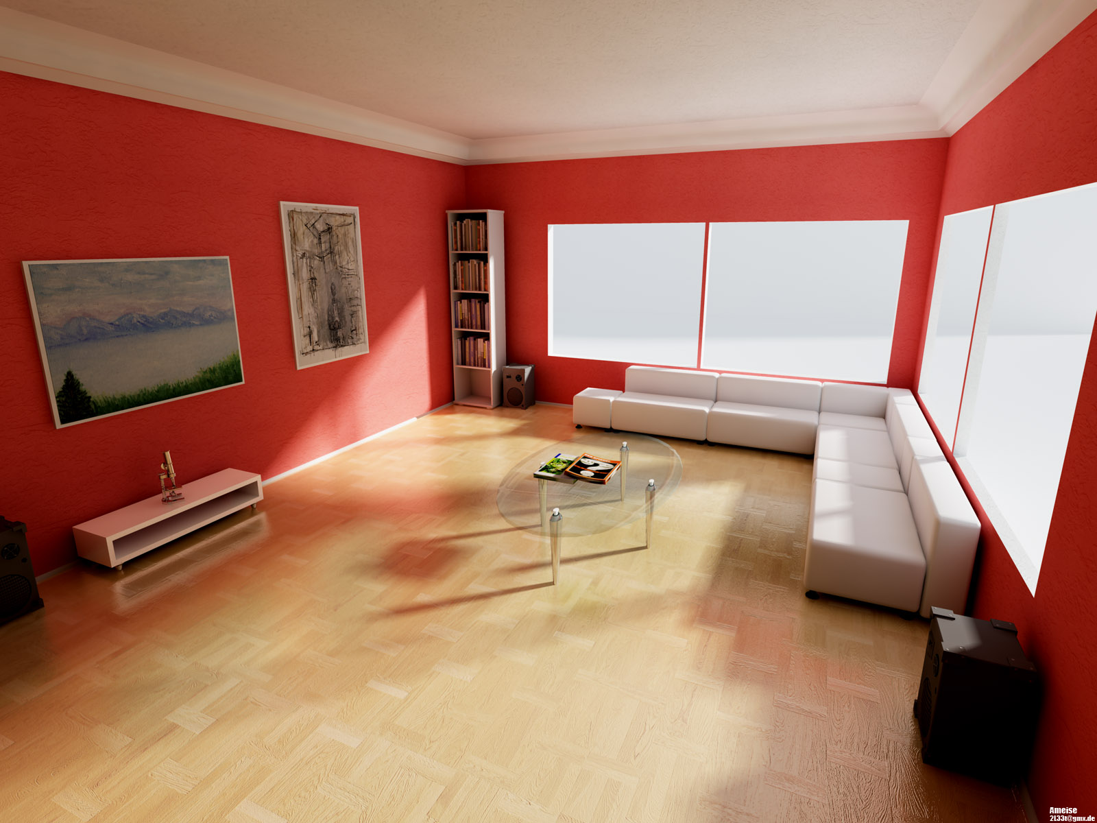 Red wall livingroom interior interior design ideas for Red wallpaper designs for living room