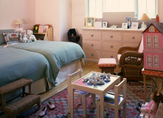 twin kids girl bedroom decoration idea