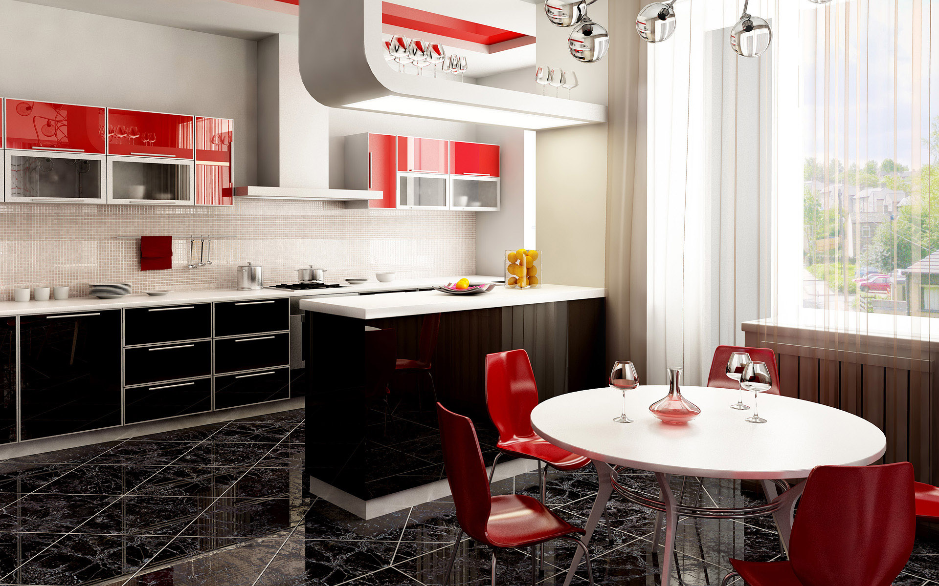 glossy-red-and-dark-brown-cabinets-kitchen glossy red and dark brown cabinets kitchen
