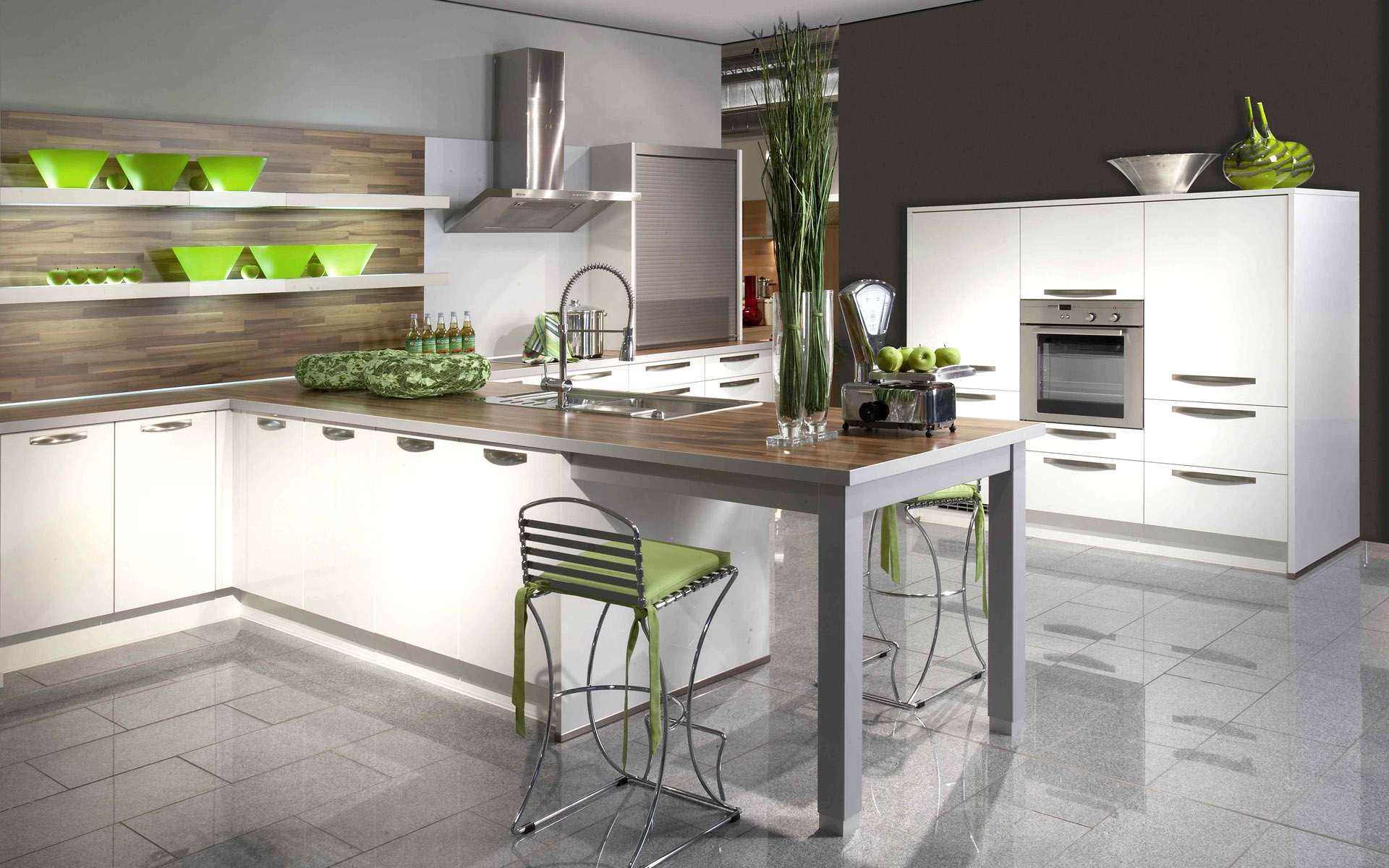 Green white and gray kitchen idea interior design ideas for Grey and green kitchen