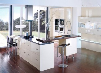 Open White Kitchen Design Idea