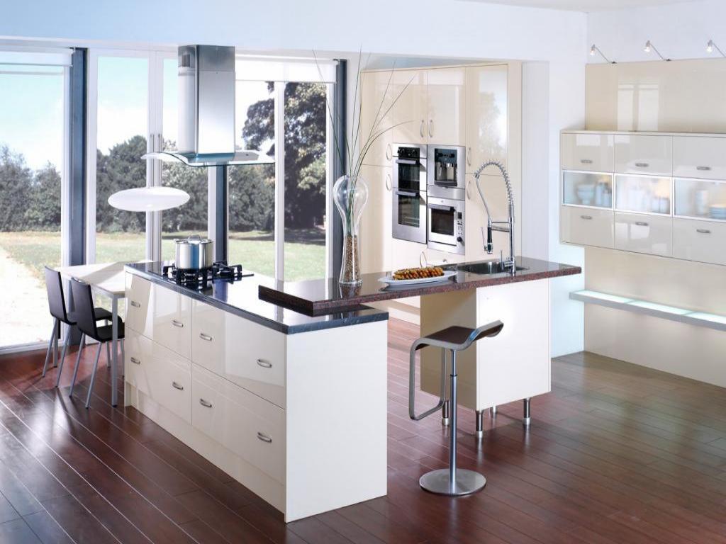 Open White Kitchen Design Idea