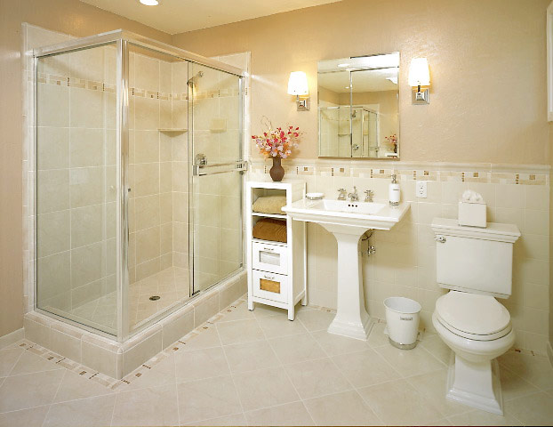 Small Contemporary Bathroom Idea Bathroom Rectangle Tiles Decoration