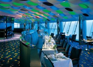 blue green hotel interior