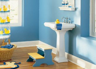 blue and yellow color bathroom