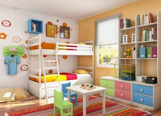 colourful twin kids bedroom design ideas