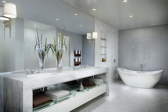 grey and silver bathroom