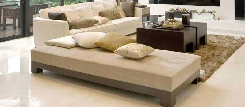modern beige sofa and cushions