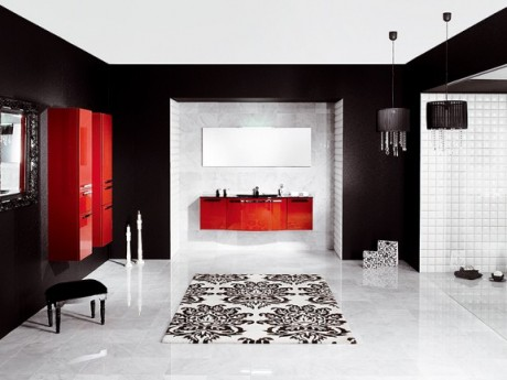 red and black bathroom interior design idea