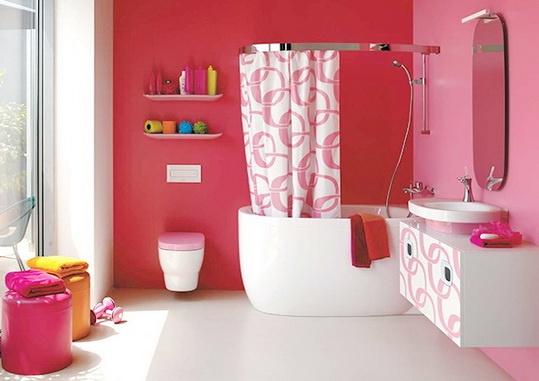 sweet pink bathroom color