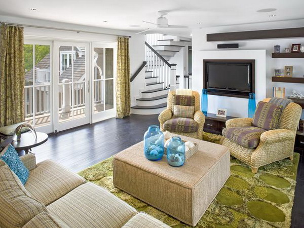 white-and-Green-Living-Room-idea Choosing best color scheme for living room