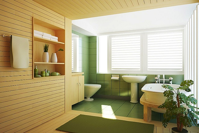yellow and green bathroom