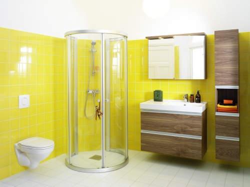 yellow white bathroom idea