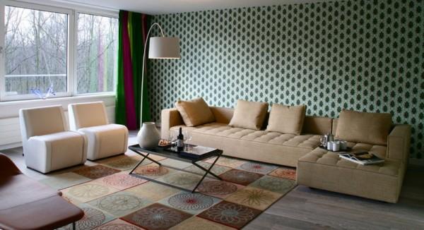 Living-Room-diamonds-pattern-wallpaper Living room wallpaper ideas