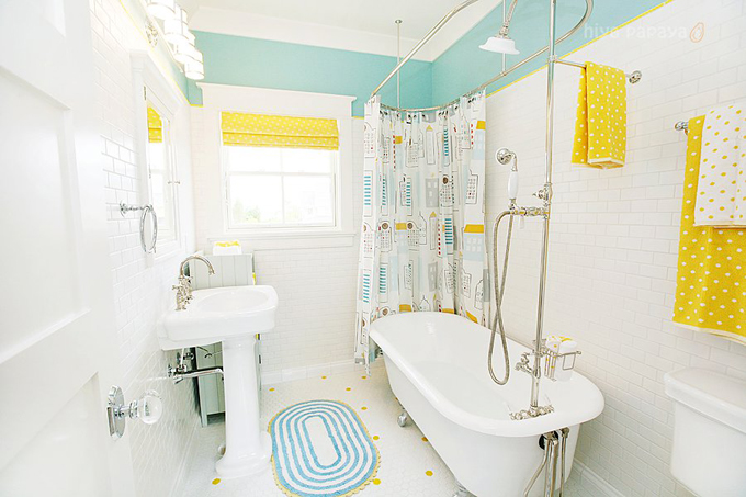 bright white and yellow fully marbled bathroom idea