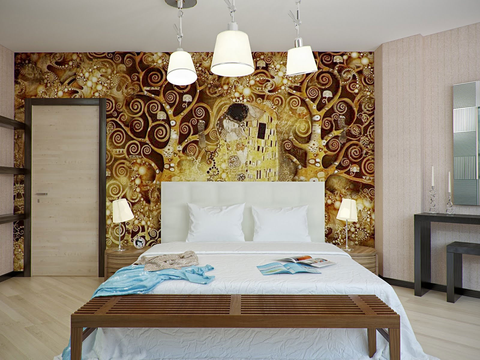 contemporary art-wallpaper for bedroom