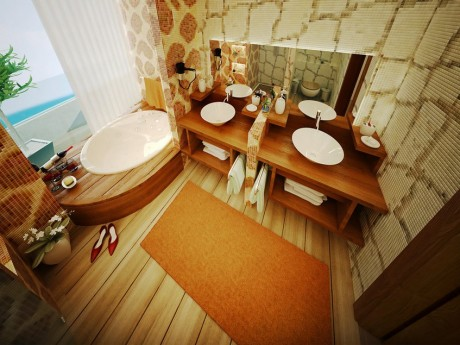 innovative orange wood beige bathroom