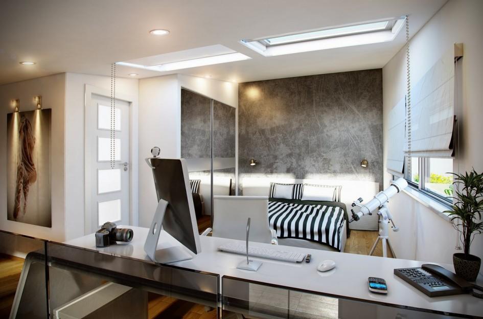 Black white bedroom office