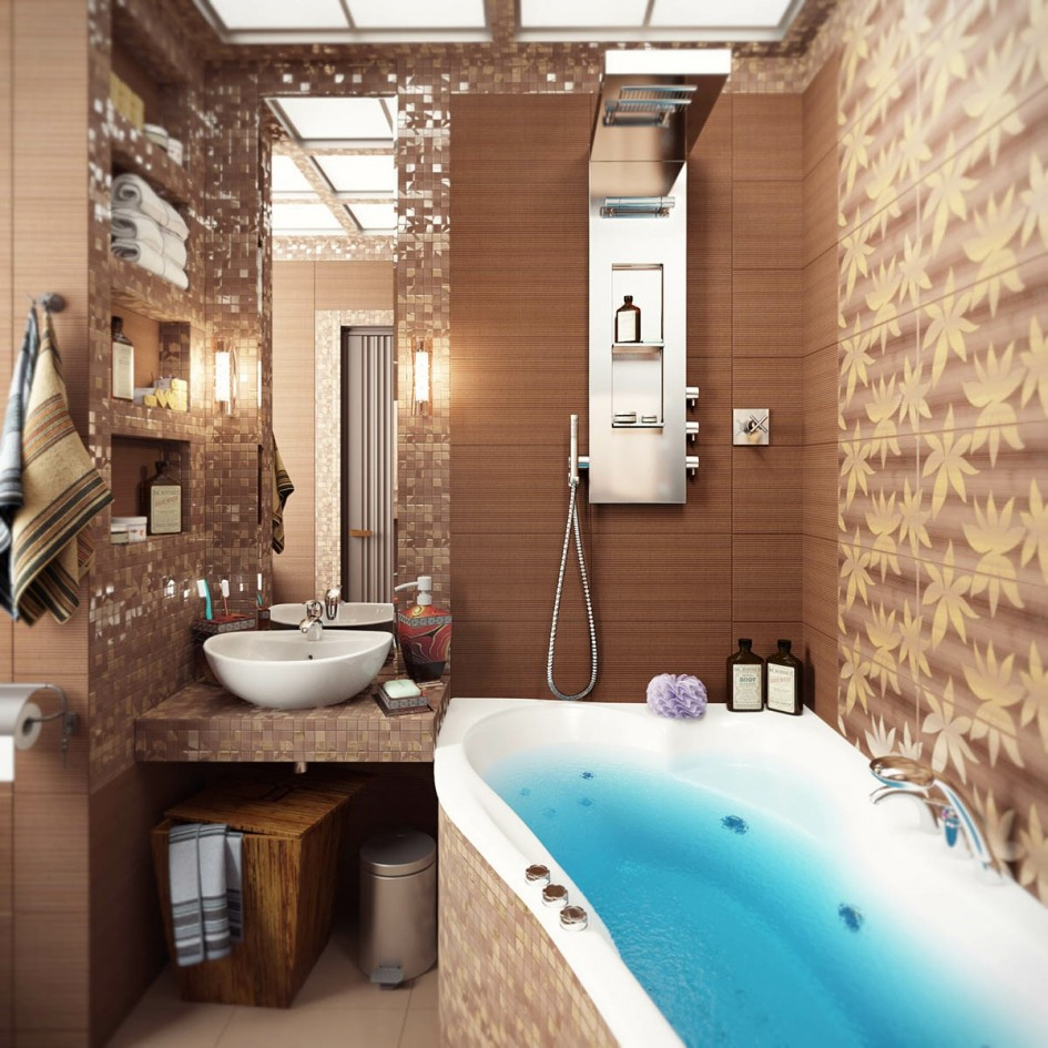 Brown-mosaic-bathroom-tiles Brown mosaic bathroom tiles