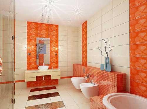 Elegant-white-orange-bathroom Elegant white orange bathroom