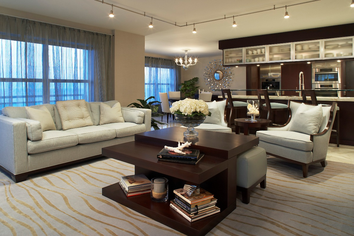 Open floor Elegant interior-living-room design with stylish-carpet