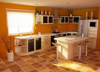 Orange Color Kitchen Scheme