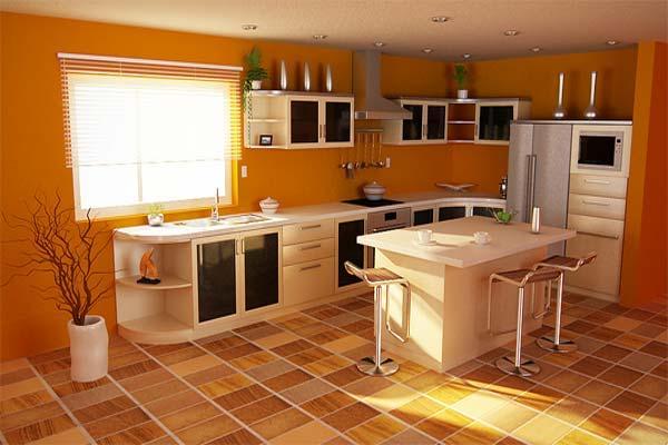 Orange Color Kitchen Scheme