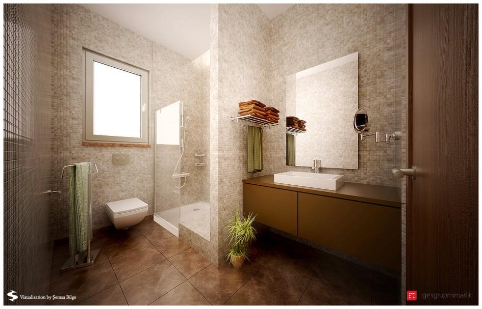 brown-and-beige-mod-bathroom Brown and beige mod bathroom