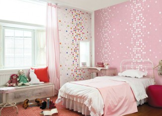 Dotty wallpaper for girls room