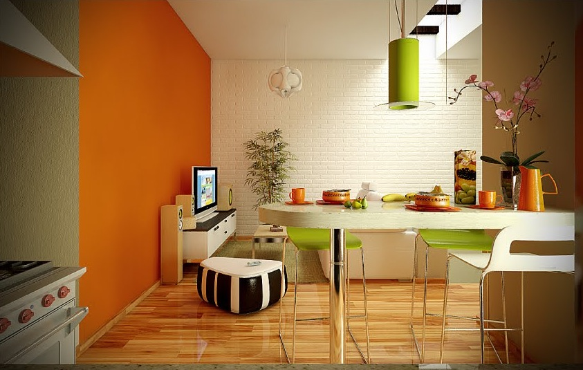 orange lime green white dining living room