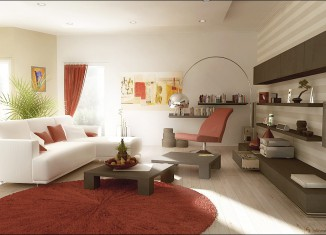 Rust red white living room furniture designs