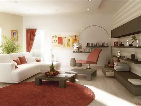 Rust red white living room furniture designs | Interior design ideas
