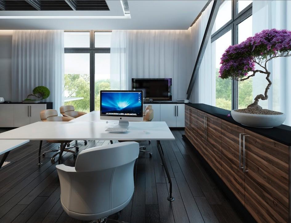 White walnut office furniture