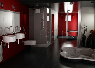 Elegant red and black bathroom