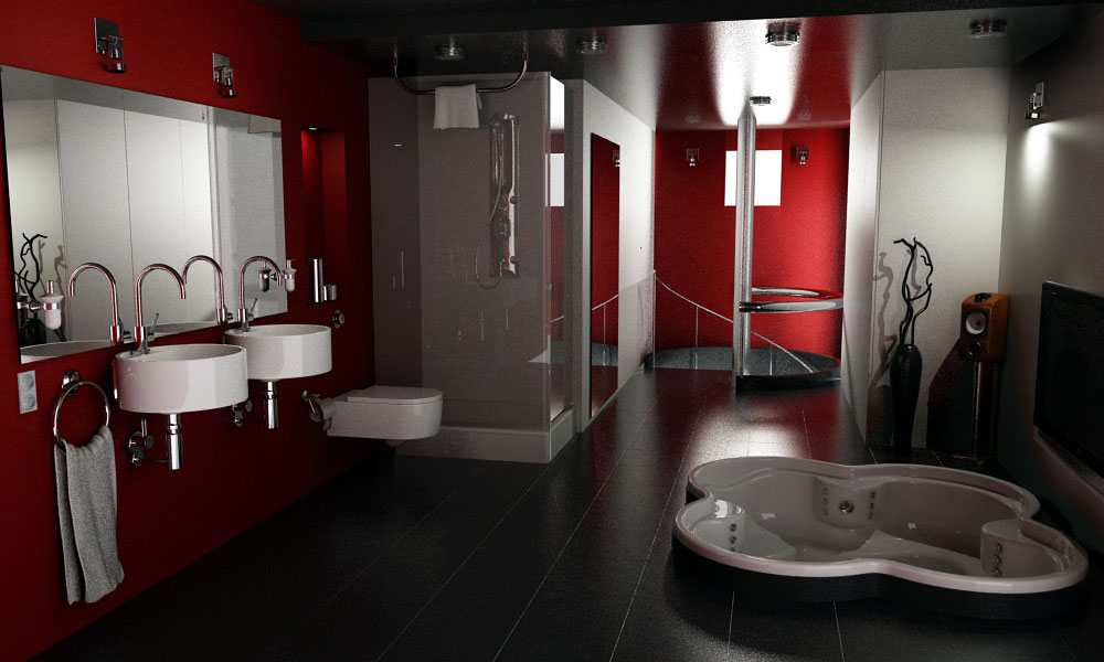 Elegant red and black bathroom interior design ideas for Bathroom design black