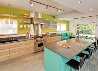 lime green and turquoise kitchen interiors
