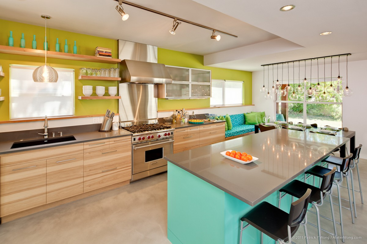 Kitchen With Turquoise Walls in addition Orange And Turquoise Kitchen