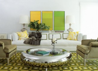 white green lime color living room