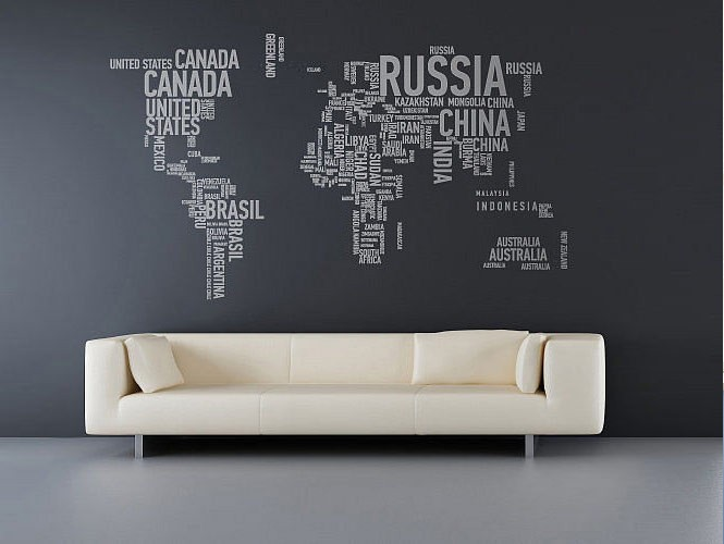 good-looking-video-game-wall-decals-with-amazing-wall-sticker-world-map-and-gloosy-grey-tile-also-comfortable-white-sofa-and-soft-white-cushions