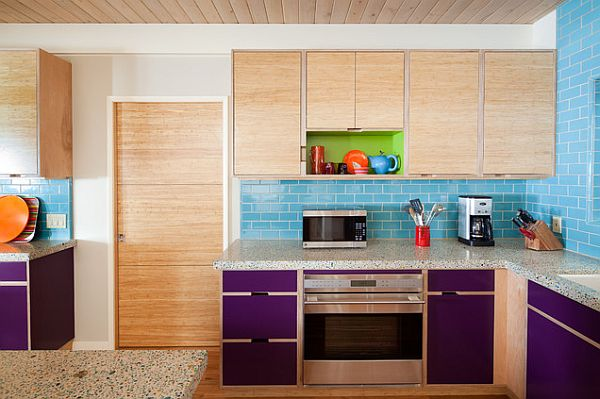 Elegant Used Color In Your Dull Kitchen Remodel Blue Tiles Contastive Design