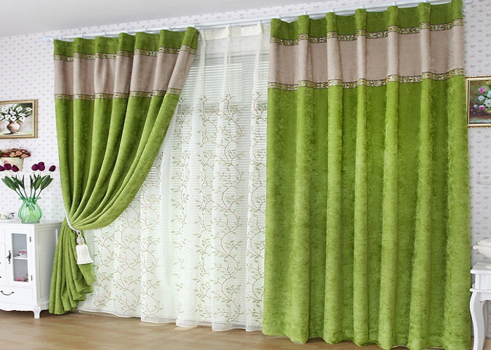 Spring-Artificial-Green-Flocking-Blackout-Curtains-for-Living-Room Which curtain is the best for your home?