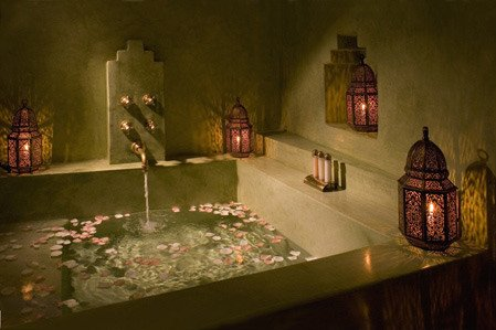 mediterranean-bathroom-moroccan-brass-lanterns-tub-shield-style How to accentuate home in geometric way?